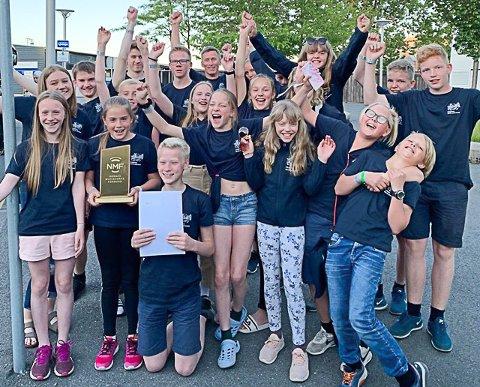 NORGESMESTERE: Full jubel hos de unge musikantene i Fåberg Skolemusikk.