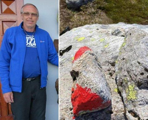 TURVANT: Leif Gunnar Mo har merket stiene på Ramnafjell og Hustveitsåta i 13 år.