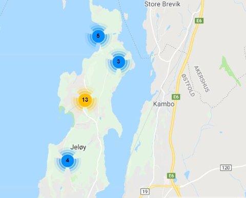 Store deler av Nordre Jeløy var uten strøm etter trafo-brannen søndag ettermiddag.