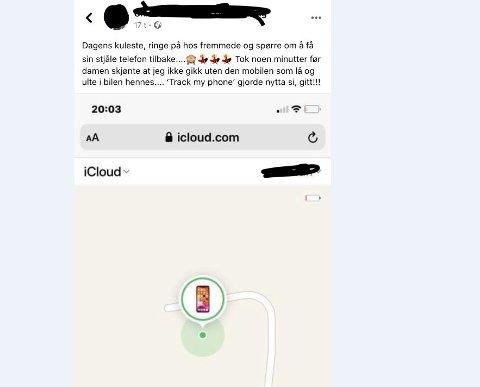 SKJERMDUMP: Her er litt av teksten og sporingsbildet etter tyveriet av mobilen.