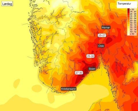 HET HELG: Lørdag får Norge et blaff av hetebølgen fra kontinentet. Det kan bli opp mot 30 grader, tror meteorologene og minner om solkrem og pause fra sola. Kart: Meteorologisk institutt