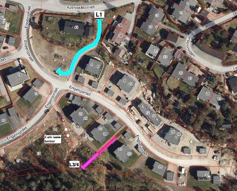 UTBYGGERS ILLUSTRASJON: Utbygger ønsker flytte plassering av en akebakke fra L3 til L1 på dett kartet.