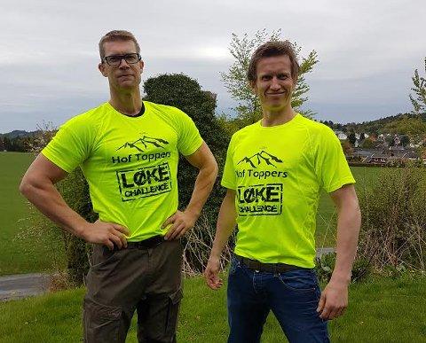 «LØKE CHALLENGE»: Frank Løke (t.h.) ser fram til å få sitt egen løp i midten av august. Svoger Bjørn Westrum Olsson stiller som massør for deltakerne i konkurransen.