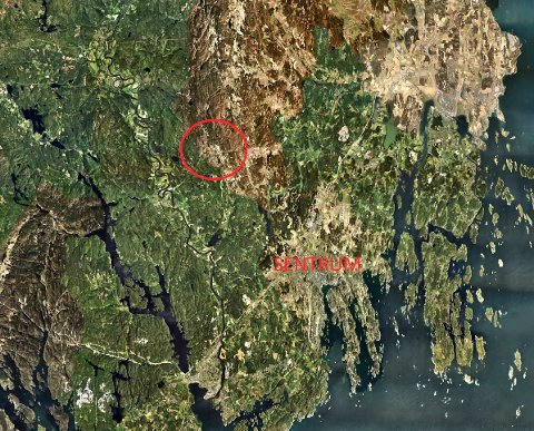 HVITSTEIN: Det markerte området ligger en snau halvtimes kjøretur fra Sandefjord sentrum. Men her ønsker ikke kommunen fortetting. (Illustrasjon: gulesider.no)