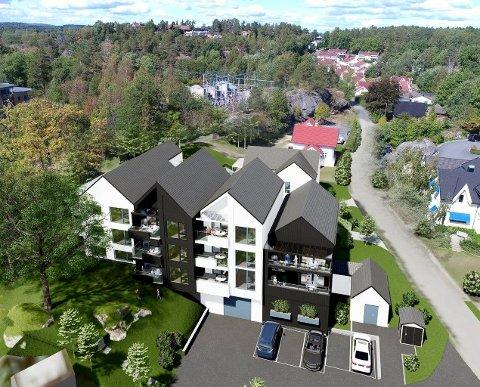 KLART FOR SALG: De 13 leilighetene får Ranvikveien 63 som adresse. Nå starter Eiendomsmegler 1 BV salget. (Illustrasjon: Spir Arkitekter)