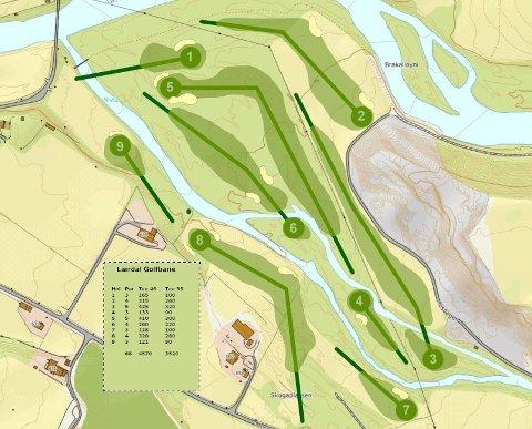 OVERSIKT: Skisse over den planlagde golfbana, som no er eit steg nærare realisering.