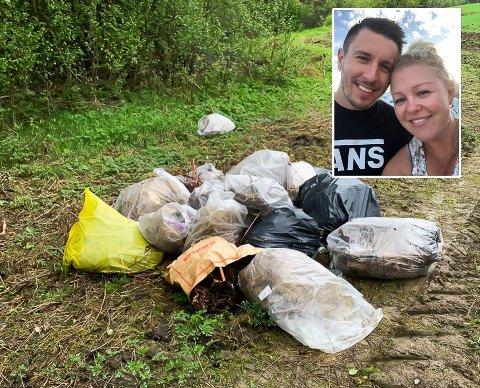 OVERRASKET: Noen har dumpet avfall på eiendommen til Tommy og Stine Mari Dahl Skikstein. Nå håper de den ansvarlige rydder opp etter seg.