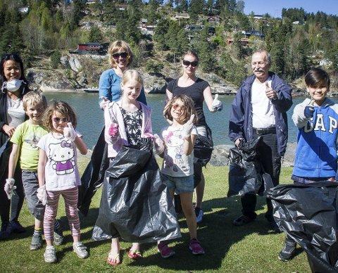 Plukket søppel på Breivoll unders strandryddedagen 2017: Miljøagentene i Ås. Foto: Åsmund Austenå Løvdal