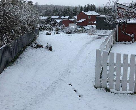 Flere cm snø på Konnerud fredag morgen, men det skal forsvinne i løpet av noen timer, lover meteorologen.