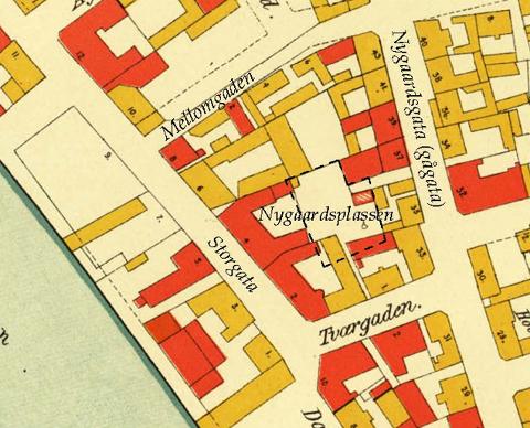 Bykart fra 1912. Torget på Nygaardsplassen anno 2019 stiplet inn.