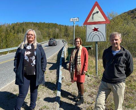 Haster: Både Mona Nilsen (t.v.), varaordfører Ann Irene Sæter, Ap, i Hamarøy og lokal Ap-leder Asbjørn Bye er enige i at det haster med å få oppgradert E6 gjennom Ulvsvågskaret.