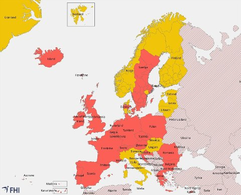 Kartet viser hvilke områder som er omfattet av karantene ved innreise til Norge fra 29. august 2020. Rød farge betyr høyt smittepress og karantene påkrevet ved innreise til Norge. Gul farge betyr økt risiko, men karantene ikke påkrevet ved innreise til Norge. Skravert område er land og regioner som ikke er vurdert eller der det mangler data. Her er det reisekarantene.