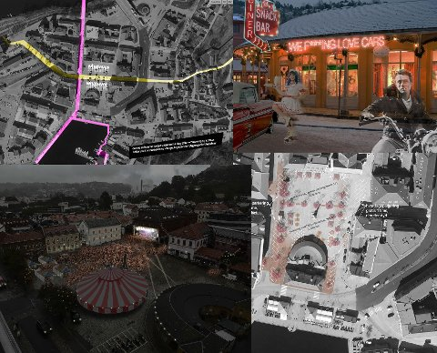 TORG-IDEER: Her er fire av forslagene «Sorte Maske» har levert som innspill til hvordan Torget i Halden kan utnyttes.