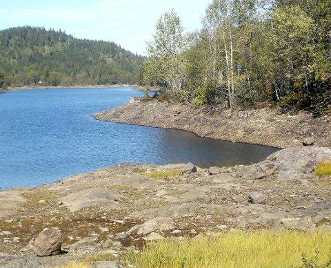 NAKEN SONE: Et område langs land ved innsjøen Hajeren er blottlagt. Bildet ble vel å merke tatt før nedbøren de siste dagene. Foto: Lars Ivar Hordnes