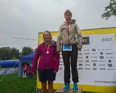 Trude Sundsteigen tok sølv i NM i triathlon. (Foto: Privat)