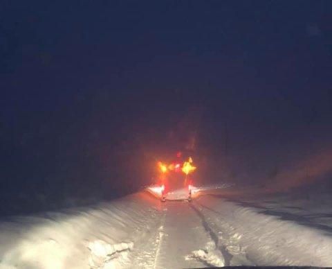 STENGT: E10 ved Bø i Flakstad var stengt en periode