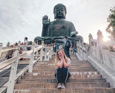 I HONGKONG: Cathrine Haugen Wroldsen er på utveksling i Hongkong.