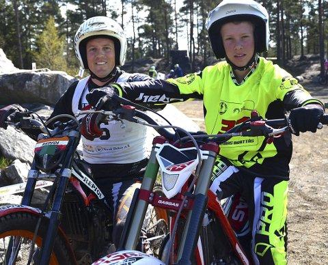 FAR OG SØNN: – Hyggelig å kjøre trial sammen, sier askimingene Matias (12) og pappa Jostein Brattås (37), som kjører for Skiptvet. MAK.