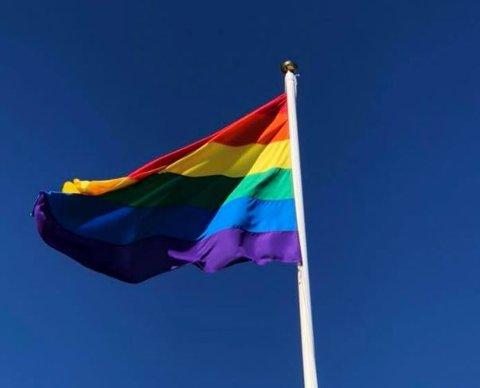Pride-flagget ble heist fredag, men må ned lørdag kveld. Foto: Marker kommune