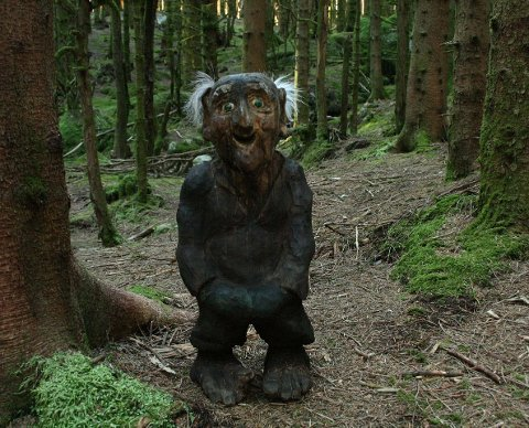 BORTFØRT: Gamle Sivert Sildrebekkjen i Eventyrskogen i Årdal er bortført. Sivert er fødd pessimist, er nokså nervøs og har dårleg hjarta, så det er vel eit spørsmål om han vil tola denne påkjenninga?