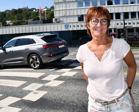 """Ordfører Marianne Landaas var en av dem som stemte for at kommunen skulle flagge under """"Skeive Sørlandsdager""""."""