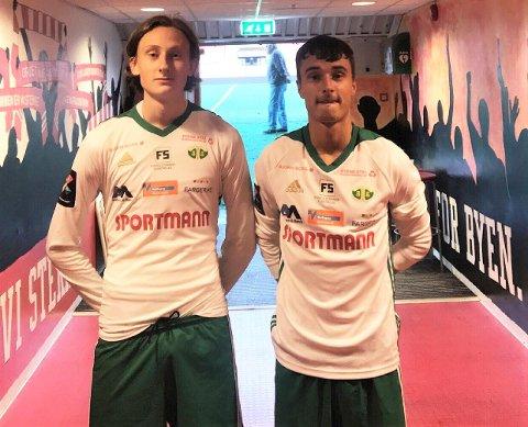 FIKSET 1-1: Trym Kjølholdt Gustavsen (til venstre) hadde bare vært på banen i noen sekunder da han slo et perfekt innlegg til Herman Blystad, som scoret. Kråkerøy reddet ett poeng mot Stabæk 2.