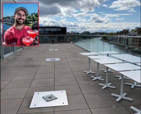 HÅPER PÅ COMEBACK: Innehaver Osman Ersoy har servert mange coctail-glass hos Savoy Terrasse på toppen av Litteraturhuset.  Nå håper han å få åpne igjen, og samarbeide med Delicatessen om matservering. De har minst like gode muligheter som andre til å overholde smittevernreglene, mener han.