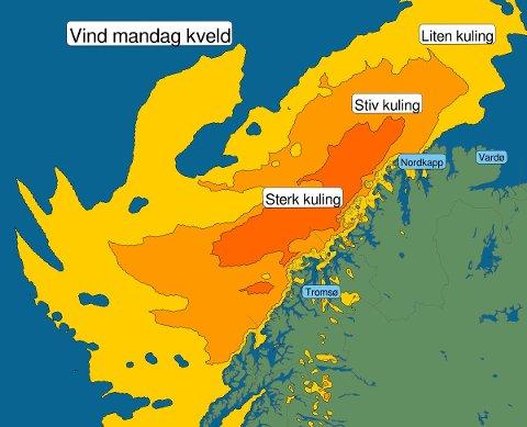 KRAFTIG VIND: Finnmarkskysten kan vente seg kraftige vindkast i begynnelsen av denne uken. Heldigvis roer det seg ned allerede onsdag, ifølge metereologene.