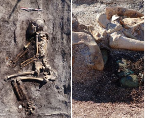 EN KVINNE: Onsdag publiserte arkeologene et bilde av skjelettet og kunne opplyse at det var en kvinne. Ved brystet og under haka ligger to skålformete spenner av bronse. Foto: Tromsø museum