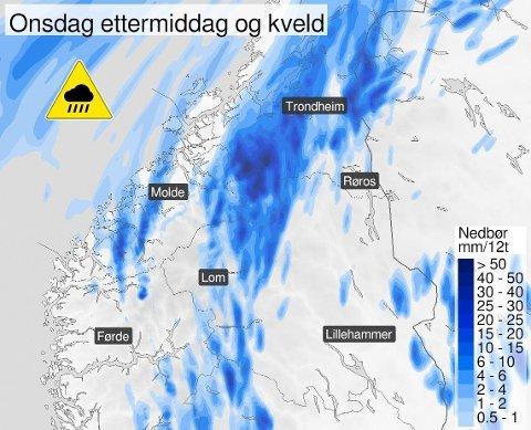 Gult farevarsel er ute for styrtregn i Vestland fylke, Møre og Romsdal og Trøndelag onsdag. Foto: (Meteorologisk institutt)