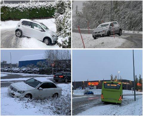 SNØ-TRØBBEL: Felles for alle disse sjåførene var at snøen skapte trøbbel – og de måtte få hjelp av bilberger.