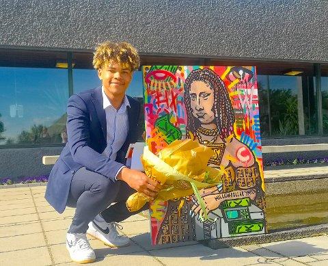 FARGER: Thomas Blix med sin versjon av da Vincis Mona Lisa.
