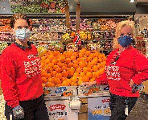 JOBBER PÅ: Anita Pettersen ( til høyre) og Ann-Kristin Hansen jobber på Meny Haslesenteret. Trivsel på arbeidsplassen er nøkkelen til at de gleder seg til å gå på jobb hver dag.