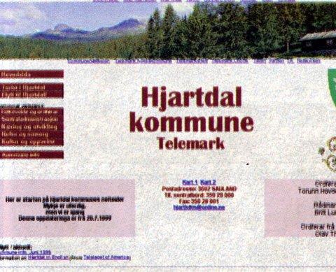 PÅ NETT: Hjartdal kommune kom i våres på Internett med sin hjemmeside, og slo dermed både Notodden og Sauherad med å komme raskt på nettet.