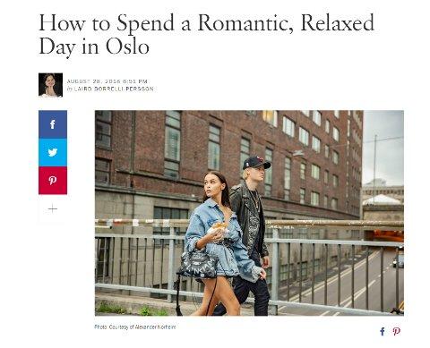 Kjæresteparet Juliane Snekkestad og Marius Borg Høiby har vært i Oslo og presentert sine favorittsteder i hovedstaden for magasinet Vogue. Faksimile: Vogue