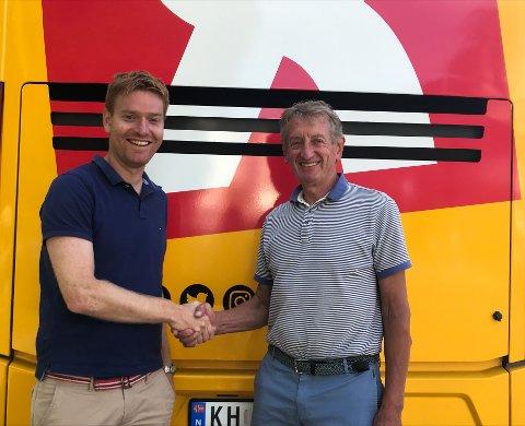 Roy Hegreberg (til venstre), daglig leder for Tour des Fjords, og Birger Hungerholdt, daglig leder i Interspons AS, er fornøyd med å samle ressurser og kompetanse til det som vil bli et nytt arrangement.