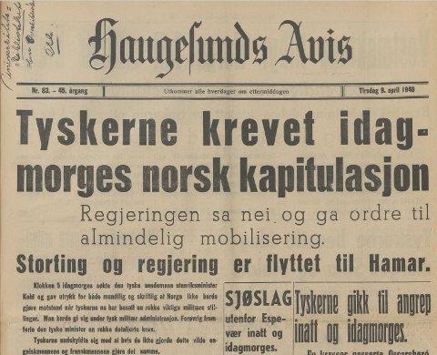 9. april 1940: Slik var toppen på Haugesunds Avis for 80 år siden.
