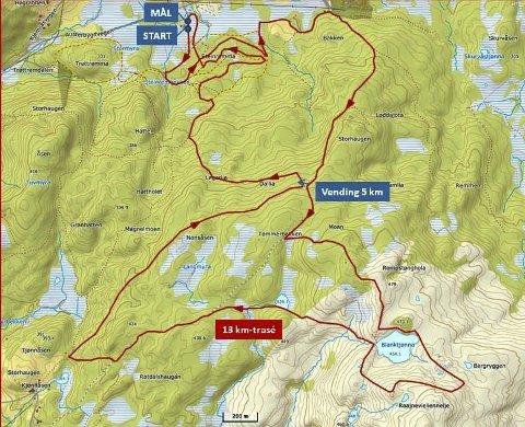 Renfjellmarsjen 2019. Ny løype på 13 km som har start og mål på Sjåmoen