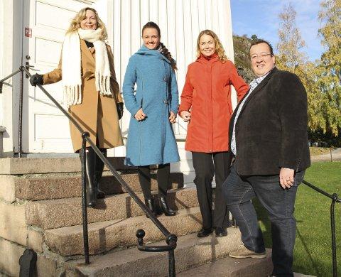 FARGERIKE SANGERE: (Fra v.) Christine Meyer, Susanne Akerø-Kleven, Cecilie Schilling og Jan Kristian Hverven håper på oppmøte i bykirken torsdag. Foto: Lars Ivar Hordnes