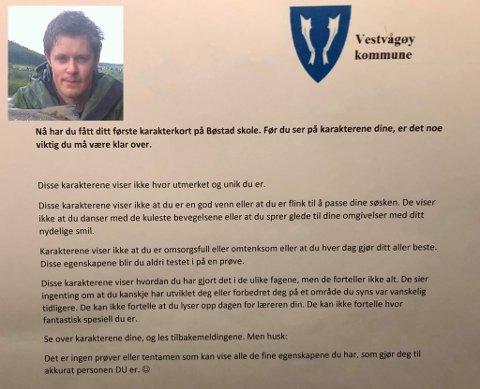 Kontaktlærer Magnus Solstad (innfelt) ved Bøstad skole sendte et helt spesielt julebrev med karakterkortet.