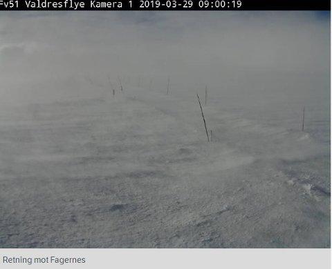 Slik ser været ut på Valdresflya fredag formiddag.