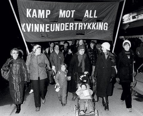 OSLO 1982: 8. mars markeres med hovedparolen «Kamp mot all kvinneundertrykking».  Foto: NTB
