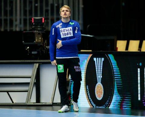 Magnus Fredriksen under VM-treningen i Herning torsdag. Han sliter med en liten skade i magen.