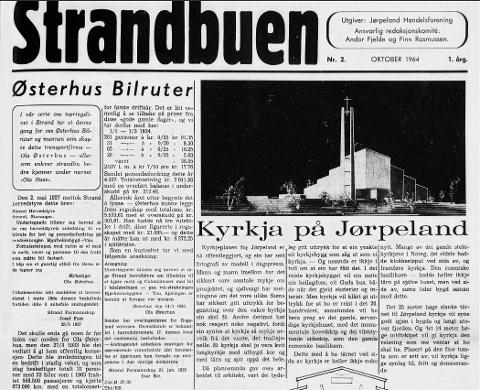 1964: Planene for kirka på Jørpeland ble offentliggjort i oktober 1964.