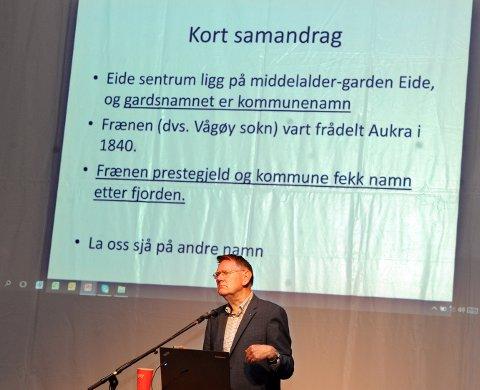 Foredragsholder Rolf Austigard holdt et engasjerende kåseri om finalenavna.