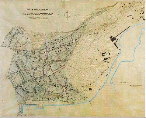 Arkitekt Kristofer Lange tegnet reguleringsplanen for Nøterø haveby for hundre år siden. Kommuneingeniør Arthur Røed ferdigstilte planen.