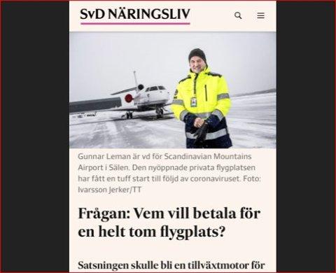 Utfordring. Den nye charterflyplassen i Sverige som skal betjene både Sälen og Trysil, opplever problem med både mildt vinterklima og pandemi.