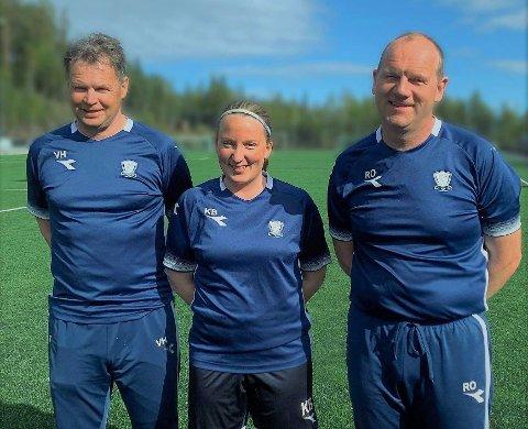 Trio: Denne trioen skal styre det meste av det som skjer med Valdres FKs damelag denne sesongen. F.v. hovedtrener Vidar Hilmen, spillende assistenttrener Kristin Bråten og assistenttrener og oppmann Ronny Opheim.