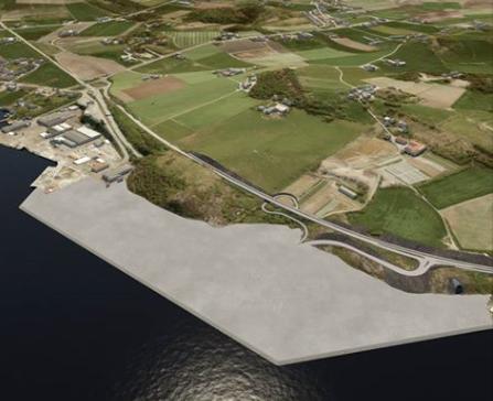 Utfyllingen av sprengsteinmasser fra Rogfast skal gi etablering av nytt næringsareal i Mekjarvik.