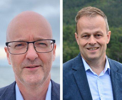 Jostein Saghaug (MDG, t.h.)) meiner BKK ikkje har følgd opp lovnadane sine om grøn satsing i Kvinnherad. Konserndirektør Rune Indrøy (t.V.) er sterkt usamd.